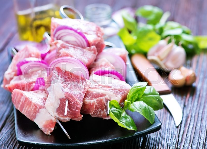 Stock image of 'raw meat with spice and salt, meat for kebab'