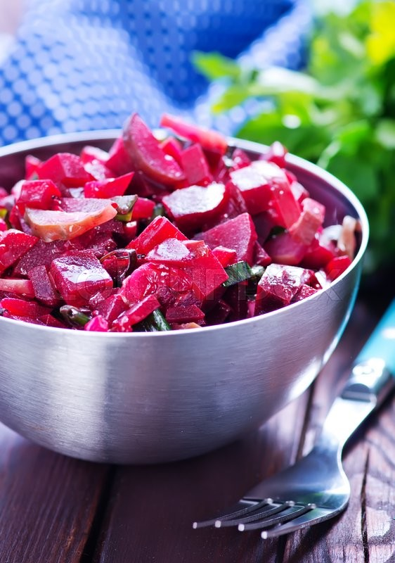Stock image of 'salad with boiled beet in the bowl'