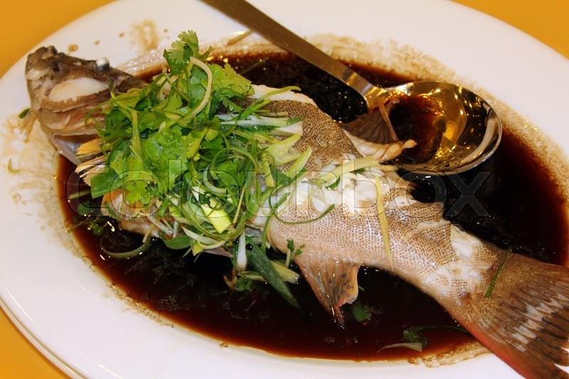 Stock image of 'Grilled grouper fish grouper in soy sauce'