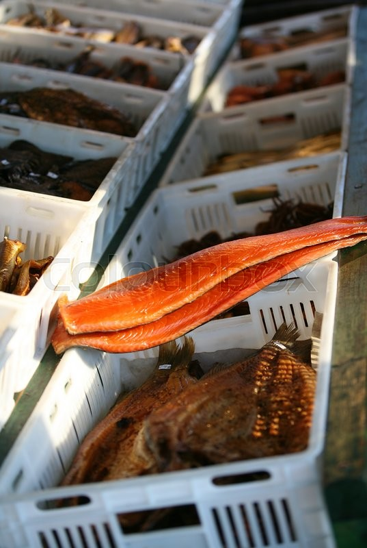 Stock image of 'Fillet of a red smoked fish'