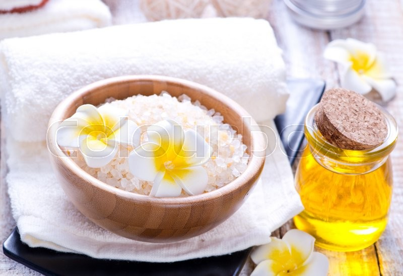 Stock image of 'products for massag and spa on a table'