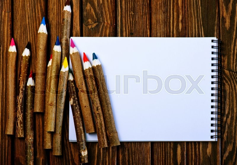 Stock image of 'color pencils on the wooden table, pencils on a table'