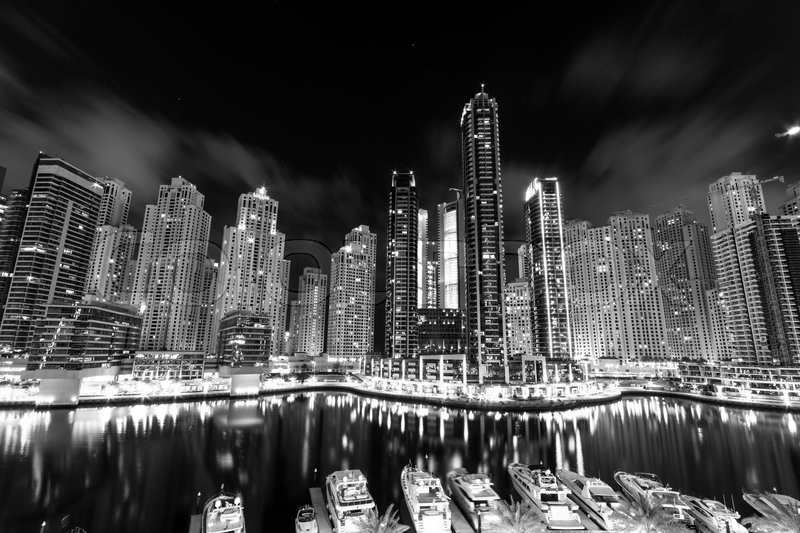 Stock image of 'Dubai Marina at night in United Arab Emirates'