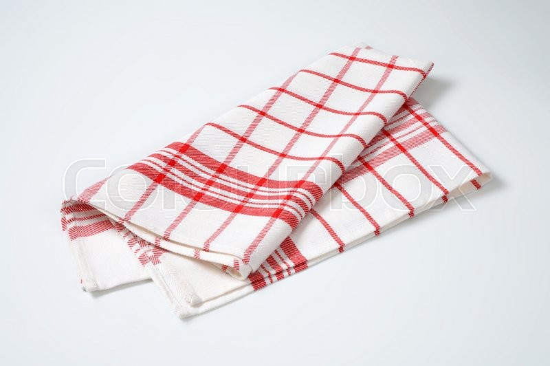 Stock image of 'red and white checked tea towel'