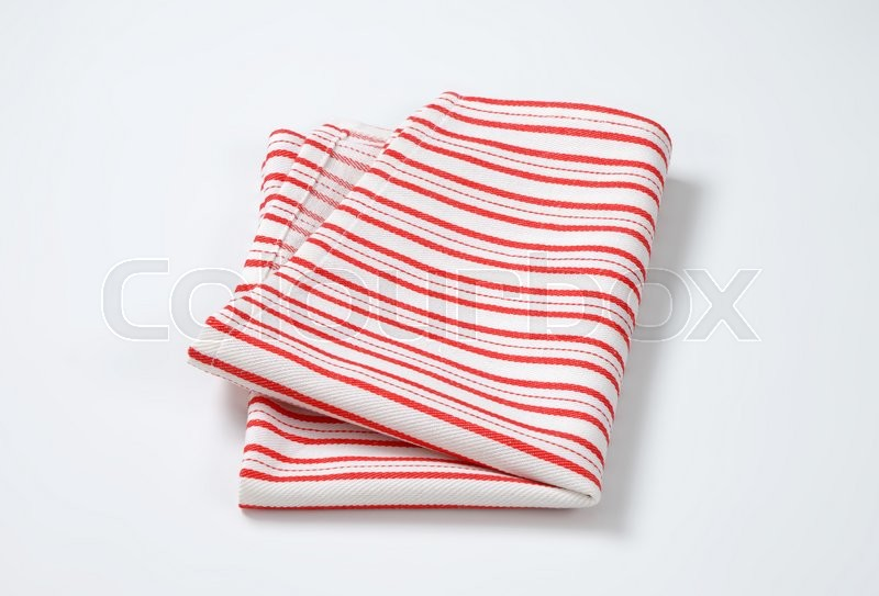 Stock image of 'striped red and white dish towel'
