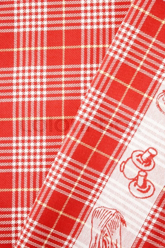 Stock image of 'detail of checked red and white table cloth'