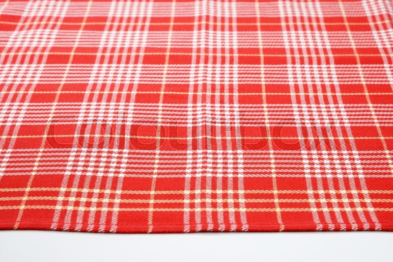 Stock image of 'red and white checkered table cloth'