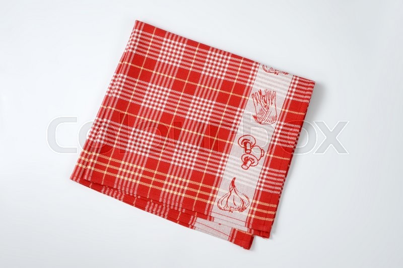 Stock image of 'red and white checkered dish towel'