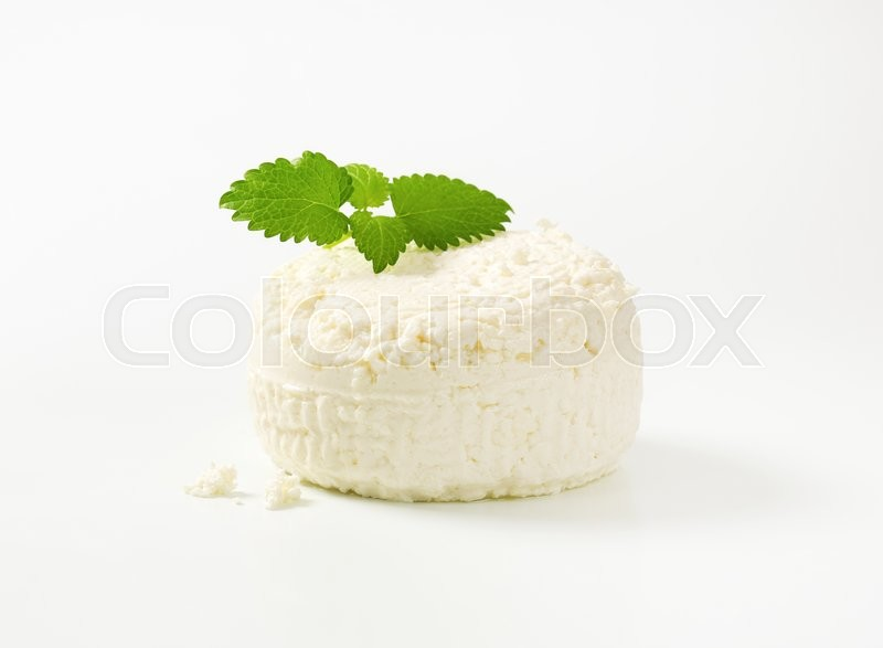 Stock image of 'wheel of fresh curd cheese'