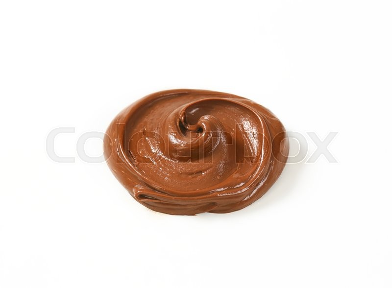 Stock image of 'swirl of chocolate spread on white background'