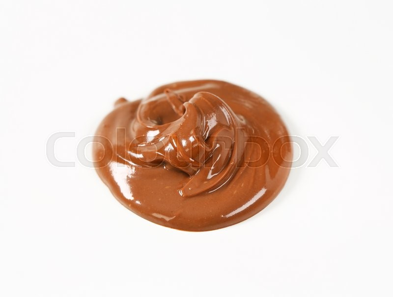 Stock image of 'blob of chocolate spread on white background'