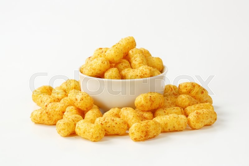 Stock image of 'bowl of crunchy peanut puffs'