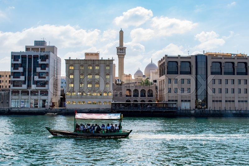Stock image of 'DUBAI, UAE-JANUARY 31, 2016: Traditional Abra ferries at the creek'