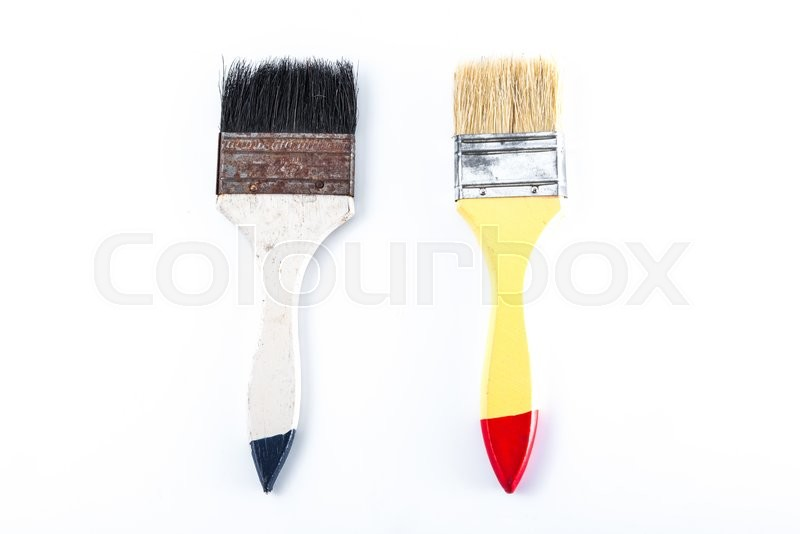 Stock image of 'Old paint brush isolated on white background'