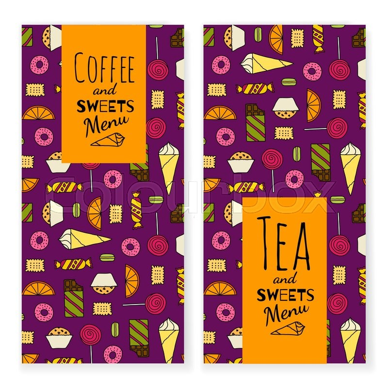 Colorful Dessert Menu Template With Typographic On Colorful Background With  Different Sweets. Coffee, Tea And Sweets Menu. Banner Set For Cafe, ...  Dessert Menu Template