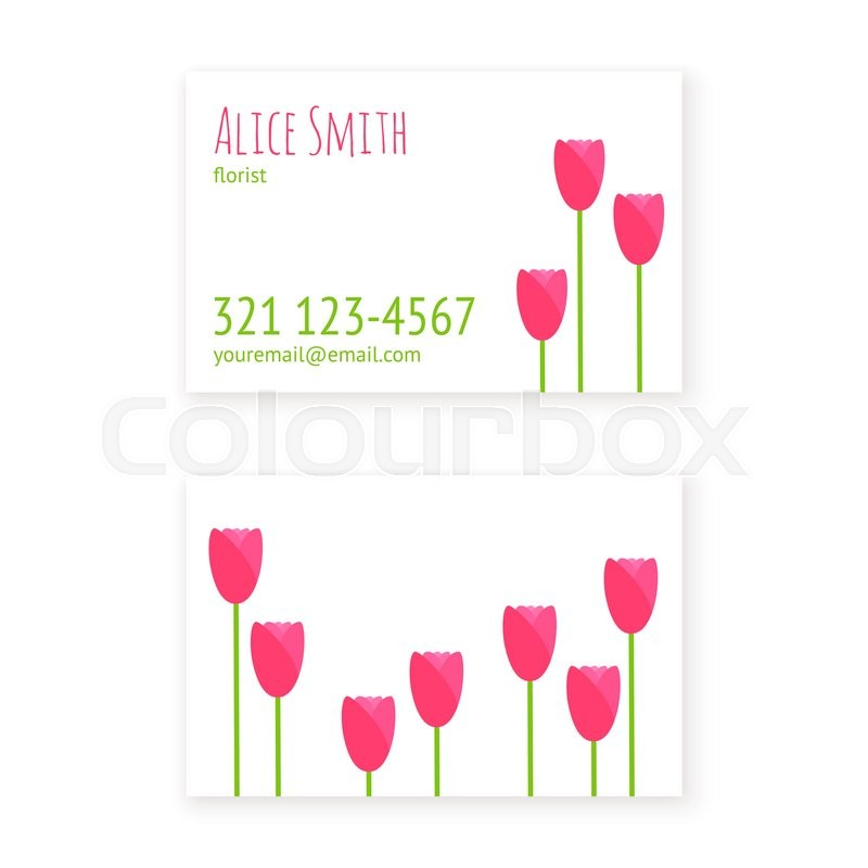 Vector flat design template business cards florist or flower shop ...