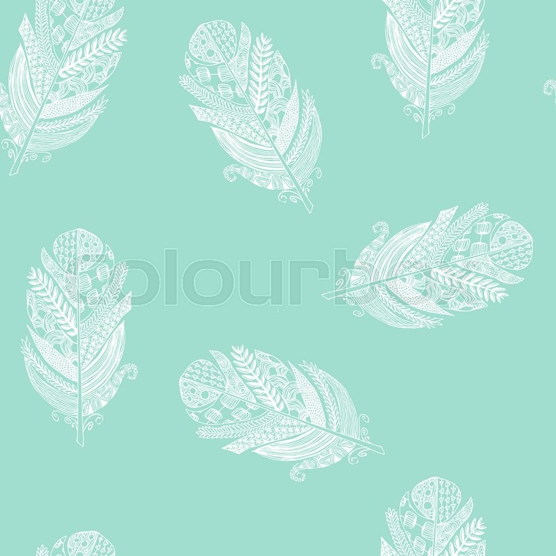 Vector Graphic Seamless Pattern From Silhouette Bird Feathers Hand Drawn Texture Of Sketch White On Soft Green Mint Background