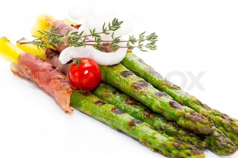 Stock image of 'Asparagus and bacon grilled ingredient'