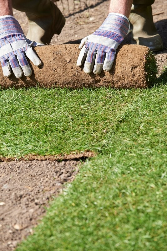 Stock image of 'Close Up Of Landscape Gardener Laying Turf For New Lawn'