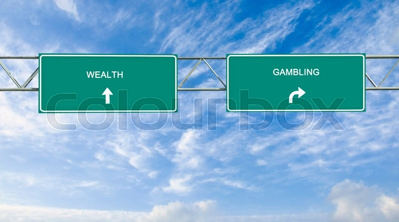 Stock image of 'Road sign to wealth and gambling'