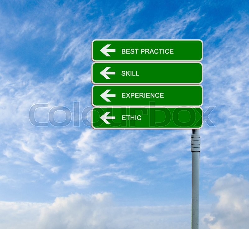 Stock image of 'Road sign to best practice'