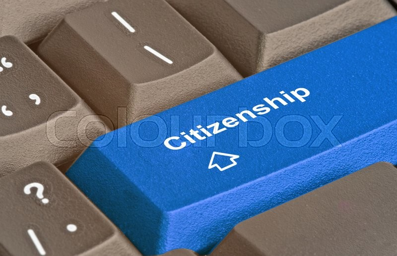 Stock image of 'Blue key for cirizenship'