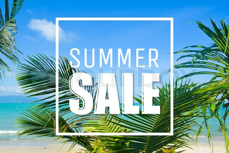 Stock image of 'Summer sale text, clouds, palms and sea. Full HD photo and digital text.'