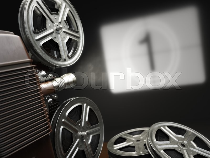 Stock image of 'Cinema, movie or video concept. Vintage projector with projecting blank and reels of film. 3d'
