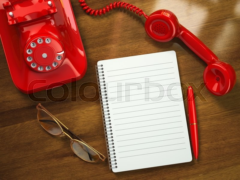 Stock image of 'Vintage business concept. Retro telephone, notebook, pen and glasses on the table. 3d'