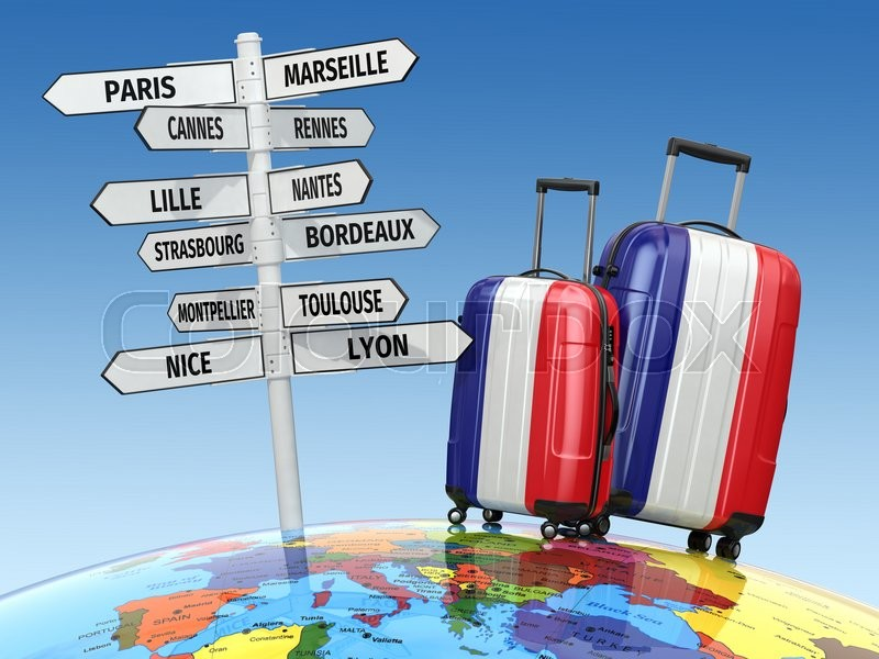 Stock image of 'Travel concept. Suitcases and signpost what to visit in France. 3d'