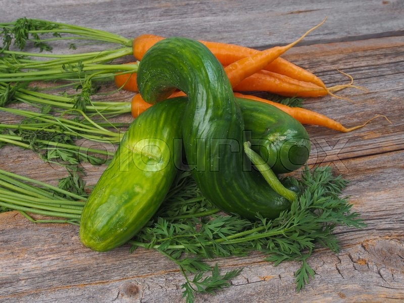 Stock image of 'Fresh carrots and cucumber from the garden'