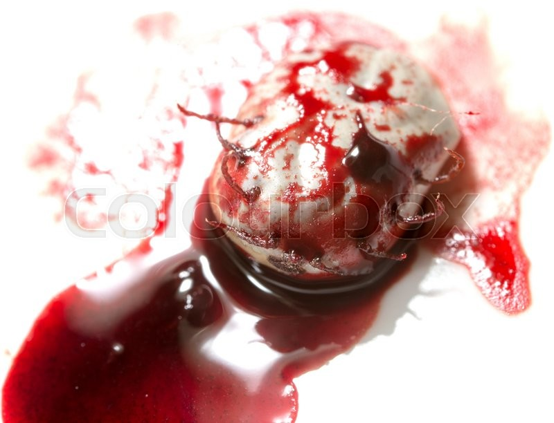 Stock image of 'Mites in blood on a white background. macro'