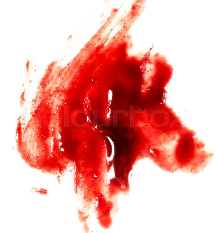 Stock image of 'Smeared red blood on white background'