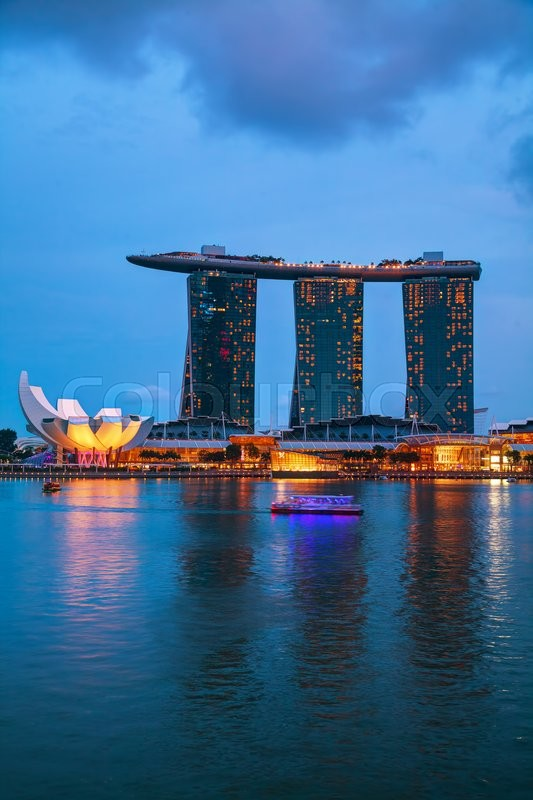 Editorial image of 'SINGAPORE - OCTOBER 30: Overview of the marina bay with the Marina Bay Sands on October 30, 2015 in Singapore.'