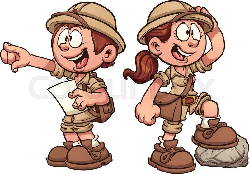 Boy And Girl In Safari Outfits Vector Clip Art Cartoon Illustration With Simple Gra Nts Stock Vector Colourbox