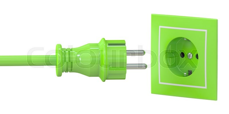 Stock image of 'Green electric plug and socket, green energy concept. 3D rendering isolated on white background'