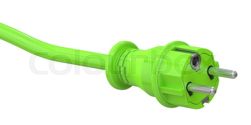 Stock image of 'Green electric plug, green energy concept. 3D rendering isolated on white background'