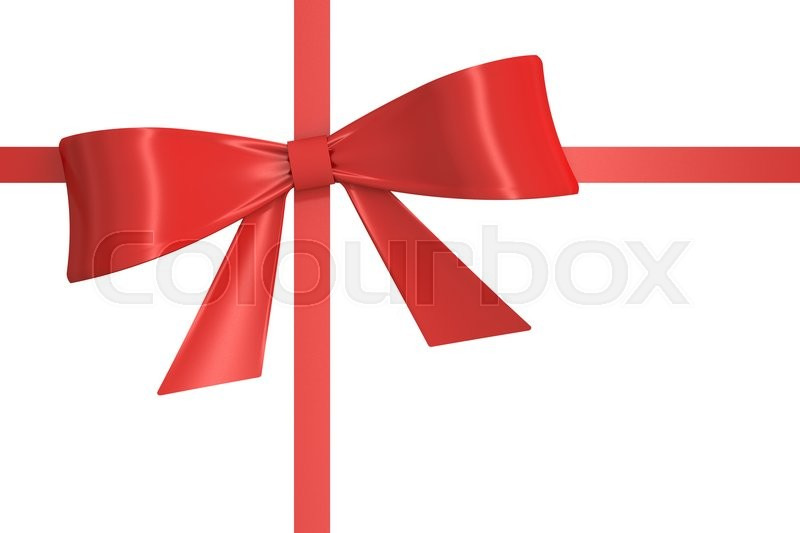 Stock image of 'red gift  ribbon, bow. 3D rendering isolated on white background'
