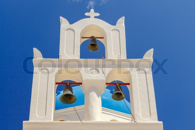 Stock image of 'The bell tower on the orthodox church of Panagia in Oia.'