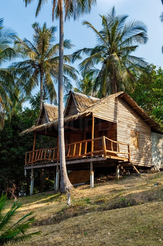 Stock image of 'Bungalow near the palm trees and the sea in Thailand'