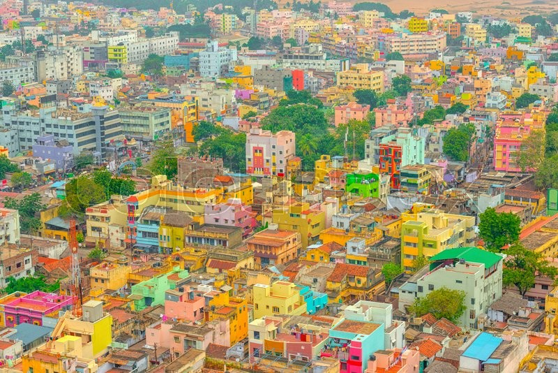 Stock image of 'Aerial view of colorful homes Indian city Trichy, Tamil Nadu'
