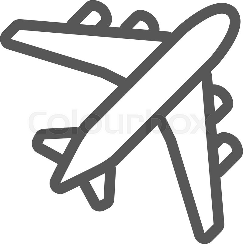 Black plane outline Simple airplane line icon design Stock Vector