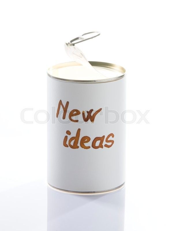 Stock image of 'Can full of new ideas opened, metaphorical photo for business man and creative people'