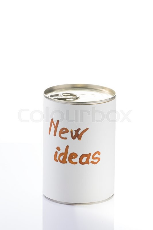 Stock image of 'Can full of new ideas pending to open, metaphorical photo for business man and creative people'