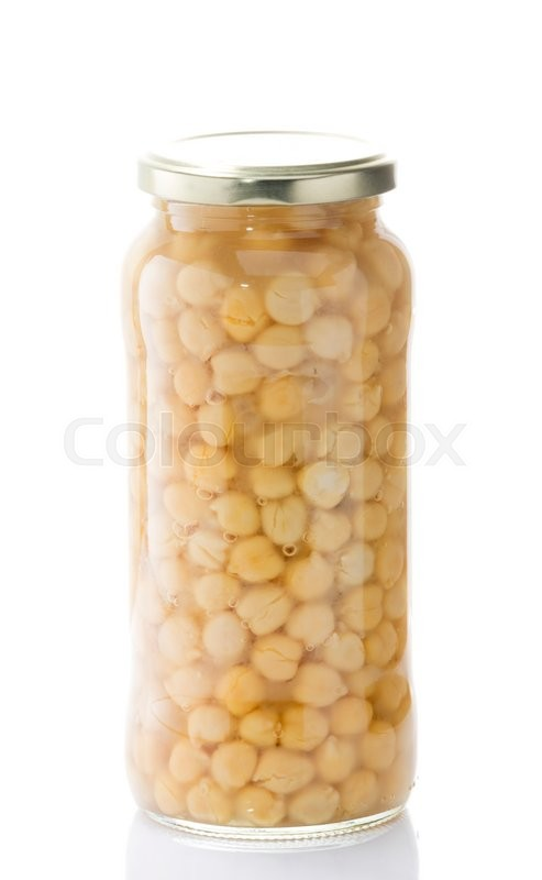 Stock image of 'Chickpea jar on a white background with a metal lid'