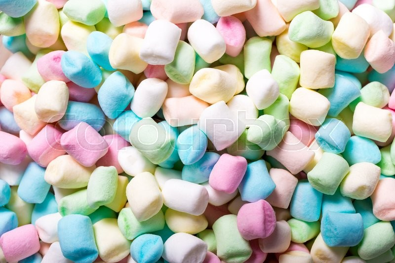 Stock image of 'sweet background - close up of colorful mini marshmallows'