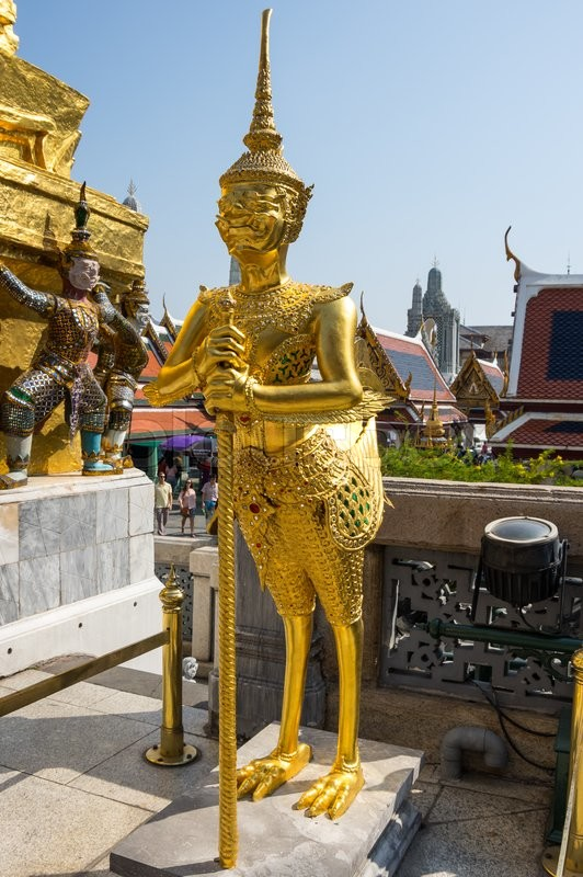 Editorial image of 'Demon guardian in Wat Phra Kaeo, Bangkok. Wat Phra Kaew is one of the most popular tourists destination in Thailand'