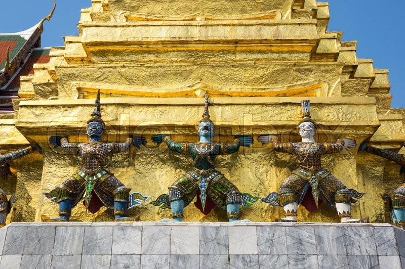 Stock image of 'Demon guardians in Wat Phra Kaeo, Bangkok. Wat Phra Kaew is one of the most popular tourists destination in Thailand'