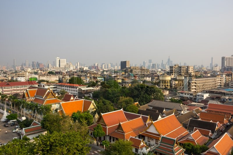 Stock image of 'Top view of Bangkok and Wat Saket from Golden Mount, Thailand'