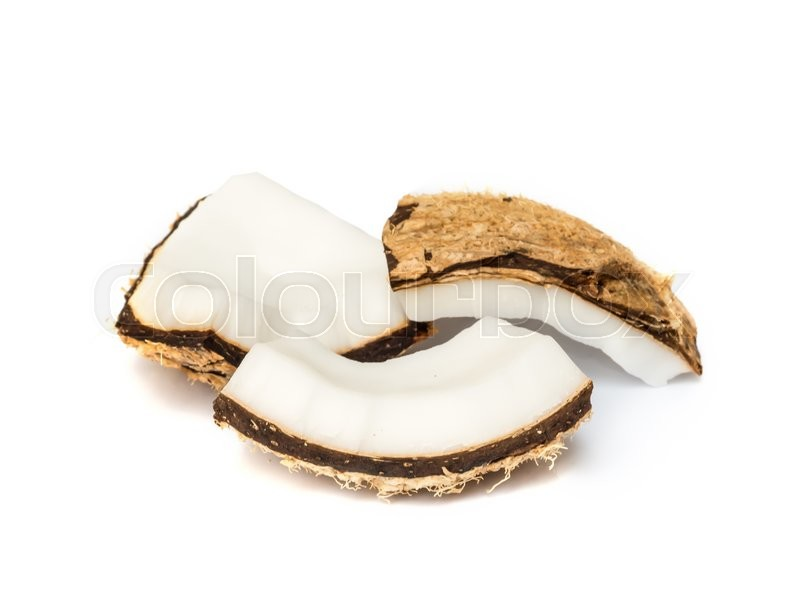 Stock image of 'Piece of coconut close up on a white background.'